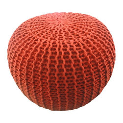 Morrow Knitted Pouf, Rust - I love the color and the texture on this pouf.