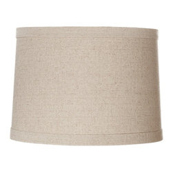 """Lamps Plus - Contemporary Springcrest™ Natural Linen Drum Shade 13x14x10 (Spider) - Add a chic casual element to your home decor with this natural linen and polyester blend drum shade. The design features self trim on the top and bottom and a taupe polyester liner. The correct size harp is included free with this shade. Natural linen polyester blend. Taupe polyester liner. Hardback drum shade. Self trim on top and bottom. 13"""" across the top. 14"""" across the bottom. 10"""" high.  Natural linen and polyester blend.  Taupe polyester liner.  Hardback drum shade.   Self trim on top and bottom.  13"""" across the top.  14"""" across the bottom.   10"""" high."""