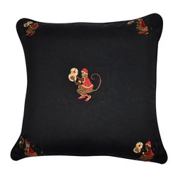 """Loom and Mill - Loom and Mill P0034-2020P 20"""" x 20"""" Black Monkey Decorative Pillow - Add a little whimsy to your room with these mischievous little monkeys. This decorative pillow is definitely a conversation starter not only for its clever design, but for its quality of construction as well. Spot clean only."""