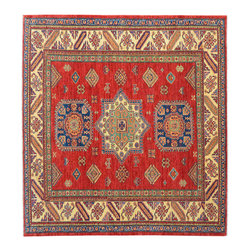 1800 Get A Rug - 100% Wool Super Kazak Red Square Hand Knotted Oriental Rug Sh15272 - Our Tribal & Geometric Collection consists of classic rugs woven with geometric patterns based on traditional tribal motifs. You will find Kazak rugs and flat-woven Kilims with centuries-old classic Turkish, Persian, Caucasian and Armenian patterns. The collection also includes the antique, finely-woven Serapi Heriz, the Mamluk Afghan, and the traditional village Persian rug.