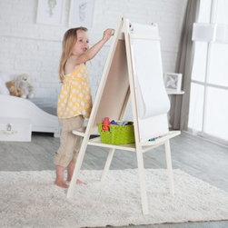 Classic Playtime Junior Easel - Vanilla - Make learning fun and engaging with the Classic Playtime Junior Easel - Vanilla! Whether your kids are using it for learning purposes or playtime they're sure to stay engaged with the multiple boards. A chalkboard on one side and a dry-erase board on the other as well as a paper roll are all perfect for keeping their imaginations active. The wood frame features a vanilla finish and a large tray to keep supplies organized. The paper roll holder accommodates an 18-inch by 75-foot roll. This easel folds easily for storage and is ideal for children aged 2 to 5 years old.