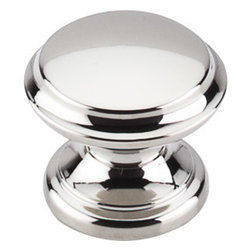 """Top Knobs - Flat Top Knob 1 3/8"""" - Polished Nickel - Width - 1 3/8"""", Projection - 1 1/8"""", Base Diameter - 1 1/16"""""""
