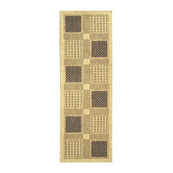 Safavieh - Runner Rug with Sand and Black Woven Squares - Machine Made. Made of Polypropylene