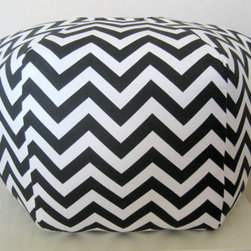 """24"""" Ottoman Pouf Floor Pillow, Black White Zig Zag Chevron by Aleta Fae - Every room needs and extra spot to sit. Why not a custom pouf in a chevron pattern? It comes in an assortment of colors including gray, yellow and black."""