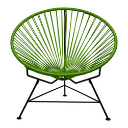 Sunburst Hoop Modern Lounge Chair in Green - Sit back and melt into this hoop-shaped, sunburst-woven modern lounge chair, complete with UV-resistant vinyl cord for breathability and support and a rust-resistant galvanized steel frame with a semi-textured polyester powder coat. The chair comes with a tripod base, and it's weatherproof and easy to clean. Use this chair inside or outsideit will be sure to add a burst of color and circular motion wherever it goes.