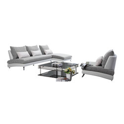 Tosh Furniture - Tosh Furniture F891 3PC White Leather And Gray Microfiber Sofa Set - It just doesn't get any better than this. This Tosh Furniture three piece collection offers easy comfort via its casual design, smart color combinations and open presentation. Incorporating soft gray and white, this design is absent the arms, lending to its modern look. With one piece cushions as the seating and oversized cushions as the back, the smaller accent pillows add even further dimension to this Tosh Furniture beauty. With a stacked appearance that accents the base and seating area and naturally reclined seat backs, there's a sophistication present that's often lacking from other modern living furniture collections. The angled chrome legs finish the look.