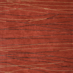 Jaipur Rugs - Modern Geometric Pattern Red /Orange Wool/Silk Tufted Rug - BQ10, 2x3 - The Baroque collection has a simple modern aesthetic.Hand tufted in 100% wool each rug is beautifully colored to reflect todays home trends.