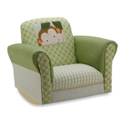 Lambs & Ivy - Lambs & Ivy Papagayo Rocking Chair - Hello little monkey! Upholstered in differing green patterns of plaid, polka-dots, and repeating dragonfly motifs, this Papagayo rocking chair features a sturdy wooden frame with plastic rockers and an appliqued peeking monkey design on its back.