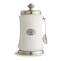Arte Italica - Tuscan Coffee Canister with Spoon - With this charming coffee canister, you'll feel like you're starting your day in a quaint Italian café. From the spoon dangling on the side to the percolator-inspired top, you can embrace tradition during your morning tradition.