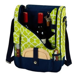 Picnic at Ascot - Pinot Wine and Cheese Cooler for Two, Trellis Green by Picnic at Ascot - Our Pinot Wine and Cheese Cooler for Two in Trellis Green by Picnic at Ascot is a compact Thermal Shield insulated cooler which includes acrylic glasses, napkins, corkscrew, bottle stopper, cheese knife, and hardwood cutting board. This unique set holds two bottles and can be used as a three bottle carrier with glasses removed.