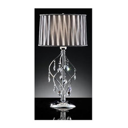 ORE International - Lady Table Lamp - Requires one 100 watt, 120 volts smaller 3-way A type bulbs. Black and white striped shade. Shade features lining of faux crystals on edge. Unique designed body with hanging faux crystal teardrops. Warranty: 30 days. Made from steel. Assembly required. 16 in. Dia. x 31 in. H (8 lbs.)This table lamp brings out a sophisticated sensation to the environment.