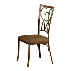 Hillsdale Furniture - Brookside Metal Dining Chairs w Fossil Stone - Set of two dining side chairs has lots of panache. The metal framework displays a scroll design on the back incorporating an oval fossil stone. A brown powder coat finish graces the frame and microsuede upholstered seats makes this set of chairs a stand out. For residential use. Set of 2. Oval fossil stone motif. Scrolled metal work. Contemporary design. Micro suede seat. Brown Powder Coat finish. 19 in. W x 16 in. D x 39.5 in. HThe chairs are in more traditionally scrolled design which boasts an oval fossil stone motif and a more gracefully scrolled metal work, contemporary design. It has a micro suede seat fabric for easy care and long lasting beauty.
