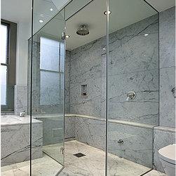 Frameless Shower Doors, Frameless Glass Enclosures - Frameless glass shower door with over sized door and fixed transom