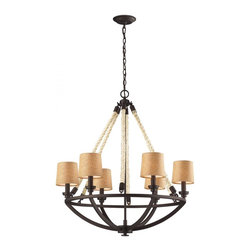 Joshua Marshal - Six Light Aged Bronze Drum Shade Chandelier - Six Light Aged Bronze Drum Shade Chandelier