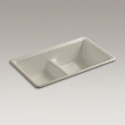 """KOHLER - KOHLER Deerfield(R) 33"""" x 19-3/8"""" x 9-5/8"""" top-mount/under-mount Smart Divide(R) - A perennial favorite, the Deerfield sink offers a versatile appeal that blends into a wide range of kitchen settings. Its clean, simple curves are complemented by a graduated waterfall rim on the matching basins. A low barrier divides the two compartments"""