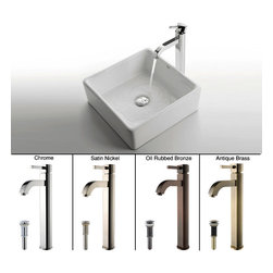 Kraus - Kraus White Square Ceramic Sink and Ramus Faucet Satin Nickel - *Add a touch of elegance to your bathroom with a ceramic sink combo from Kraus