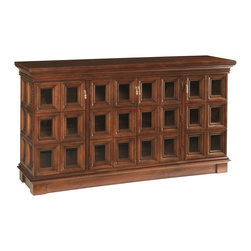 Sherrill Occasional - Sherrill Occasional Media Console 475-525 - 36 Individual glass panes in two side panels and four front hinged doors make up this elaborate cabinet designed to accommodate media components and flat screen TV.