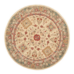 Safavieh - Safavieh Anatolia Traditional Round Rug in Beige, Green, 6'x6' - Anatolia Collection Brings Old World Sophistication and Quality in New Tufted Rugs. This Collection Captures the Authentic Look and Feel of the Decorative Rugs Made in the Late 19Th Century in This Region. Hand Spun Wool and an Ancient Pot Dying Technique Together with a Densely Woven Thick Pile, Gives Anatolia Rugs Their Authentic Finish. What's included: Area Rug (1).