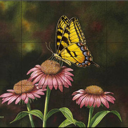 The Tile Mural Store (USA) - Tile Mural - Picking Coneflowers - De - Kitchen Backsplash Ideas - This beautiful artwork by Dempsey Essick has been digitally reproduced for tiles and depicts a beautiful butterfly.  Butterfly images on tiles are wonderful to add to your kitchen backsplash wall tile project. Bright and beautiful decorative tiles with pictures of butterflies make a great addition to your kitchen backsplash wall tile project. Bring the outdoors in with a butterfly tile mural. You can use a tile mural of butterflies in the bathroom too for your shower tile project. Consider a butterfly tile mural for any wall tile project.