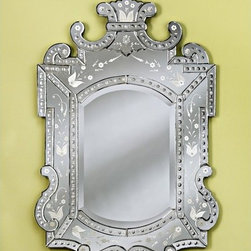 """Venetian Gems - Royale Large Venetian Wall Mirror - Hand-crafted and skillfully designed, the Large Royale Venetian Wall Mirror will enhance your room with a classy and sophisticated look! The beautiful hand-cut, beveled wall mirror rests in a dramatic and ornate Venetian clear frame with hand-etched adornments resembling 16th and 17th century styles from Venice, Italy. The mirror piece is attached to a wood backing and has a hanger for easy wall mounting. Wall Mirror Features: -Large Venetian wall mirror. -Hand-engraved clear frame with adornments. -Hand-cut glass. -Wood backing. -Equipped for easy wall mounting. -Overall dimensions: 47"""" H x 29"""" W."""
