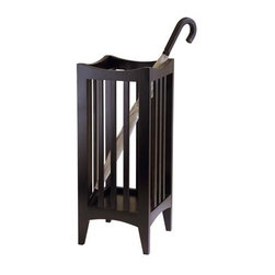 "Winsome Trading Inc - Umbrella Stand - Its handy umbrella stand. Oh..wait. Wouldnt it also be great for gift wrap or walking sticks? We just love the look- a beautiful functional accent for your back hall or craft room. Espresso stained hardwood. Assembly required.11""w x 11""d x 26 3/4""h"