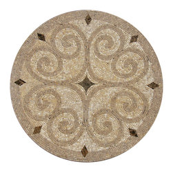 "Floor Medallions Online - 40"" Mosaic Medallion - Laguna - Possessing an almost waterjet-like elegance, the Laguna medallion is certainly amongst the most elegant of our mosaic medallions."