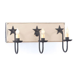 Irvin's Tinware - Three Arm Vanity Farmhouse Light w/stars in Sturbridge Colors, Sturbridge White - A classic country lighting fixture designed to illuminate your bathroom with the ease and charm of days gone by. With a hand painted and slightly distressed wooden back and metal star accents, this wonderful over the mirror light is sure to compliment your decor with any of our decorator colors.