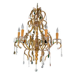 Oriental Furniture - Iron Scrolls Crystal Chandelier - Large, elaborate ceiling chandelier with a cast bronze metal frame is finished in a faux antiqued oxidized patina. Bobbin and baluster core column branches out to six electric candlestick light sockets. Stylized flower sockets mounted on elaborate metal scroll work with acanthus leaf decoration. Faceted tear drop cut glass ornaments and crystal finial catch and reflect light. Professional installation recommended.