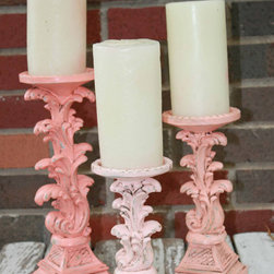 Coral Ombré Candlesticks, Ornate Scroll by Eighty Six 56 - These candlesticks are perfect for a shabby-chic cottage.