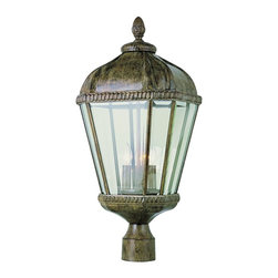 Trans Globe Lighting - Trans Globe Lighting 3-Light Traditional Outdoor Post Lantern Light X-TRB 3515 - Charming old world Italian influencing draws the eye in to this elegant Trans Globe Lighting outdoor post lantern light which features three lights and corner window detailing for added visual interest. The domed roof and botanical finial pair beautifully with the traditional details, with the entire post light being finished in a charming Burnished Rust hue. Beveled glass panels pull this traditional design together.