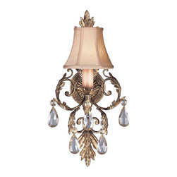 Fine Art Lamps - A Midsummer Nights Dream Sconce, 163150ST - You'll set the tone for fantasy with this beautiful wall sconce. Moon-dusted crystal pendants dazzle beneath a cream-colored, hand-sewn silk shantung shade.