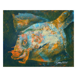 """Fish, Original, Painting - """"I like to use acrylic vs the oil because acrylic dries fast and I can express my feelings with no waiting of the paints will dry for the next lever of the artwork. I also use spatulas, palette knives and brushes(more rare). I like to paint fishes. They are unbelievable. Some of them are very beautiful, some of them are ugly, but it always something mysterious in them to watch. I saw this fish on my underpainting almost immediately, and I worked on it to make it the way I feel. This painting is varnished, the sides are finished, black. The painting has wire and it's ready to hang"""""""
