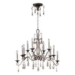 Maxim Lighting - Maxim Lighting Chic Traditional Classic Chandelier X-RH70341 - From the Chic Collection, this Maxim Lighting chandelier features a modern and romantic inspired design that's sure to please. The hanging crystal accents and modern fluidity of the scrolling arms draw the eye in, while a rich Heritage finish adds to the appeal. Candelabra style lights compliment the classic design, creating a truly romantic feel for any space.