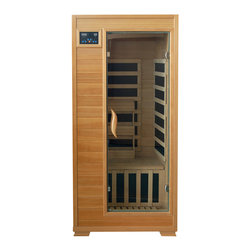 "Blue Wave - Blue Wave 1Person Carbon Infrared Sauna - Buena vista - 1 person infrared sauna with carbon heaters the Buena vista 1-person infrared sauna is perfect for relaxing and rejuvenating and will fit in virtually any room in the house. The natural hemlock wood color will enhance any decor. The dual interior and exterior led control panels allow for easy temperature control. Buena vista is available in ceramic or carbon heater options, and comes equipped with a magazine rack, back rest and a cd player with mp3 plug-in and 2 speakers! heaters 5 carbon heaters - other inferior sauna brands have only 4 heaters or less. More heaters means your heatwave infrared sauna; is more effective! location - the Buena vista carbon sauna has 1 carbon heater on the back wall, 1 on each side wall, 1 on the front of the bench and 1 heater on the floor. These 5 carbon heaters evenly bask you in soothing infrared heat. Infrared wavelength - heatwave saunas put out infrared wavelengths from 5-12 microns, which are the portions of infrared heat that most benefit the human body. Operating temperature - heatwave saunas operate up to 141 degrees f. 1230 watts - see power distribution diagram for individual heater wattages. Wood and construction heatwave saunas; are made of solid hemlock wood and constructed with tongue and groove assembly. The exterior of the sauna is stained with an appealing, natural color; the interior is smooth sanded natural wood. Power requirements this heatwave sauna; uses 120V/15 amp power, and will plug right into your standard home electric outlet. No need to upgrade or change out electrical! control panel heatwave saunas; come equipped with dual easy-touch interior and exterior led control panels - easily adjust your sauna settings from inside or outside. Lighting sauna is equipped with interior lighting. Enjoy some reading while basking in the warmth of your heatwave sauna; sound system the Buena vista comes standard with a radio with cd player and aux mp3 connection with built in speakers, so you can crank up your favorite tunes while soaking up all the health benefits of your sauna! other inferior sauna brands make you pay extra for this option, but every heatwave sauna; comes with a sound system standard. Ergonomic back rest the 1 person heatwave saunas; include an ergonomic back rest for ultimate sauna comfort. Back rest can be moved to any desired location, making your sauna session even more comfortable and enjoyable. Specifications capacity - the Buena vista will comfortably seat 1 person on the extra deep bench that runs along the back wall of the sauna. Product dimensions - once assembled the Buena vista sauna measures approximately 36 x 43. 5 x 75; see sauna dimension diagram for details. Product weight - 250 lbs. Assembly - heatwave saunas; come partially assembled, and to complete assembly you will need 2 people, a screwdriver, a ladder and about an hour. Comprehensive instruction manual is included, and in a very short amount of time your sauna will be ready for use! warranty 5-year warranty on heaters, structure and electrical. 1-year warranty on radio. Certification heatwave saunas; are proudly backed by cetl, which is etl valid in U. S. and Canada. Shipping information shipping weight - 293 lbs. # of cartons - 2 shipment dimensions - 78"" x 42"" x 30"" ""."