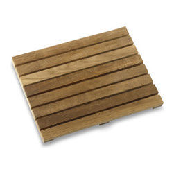 Teak Shower Mat - Feel like you're at the spa every day. A teak bath mat, made for use inside or outside the shower, is a great natural look in the bathroom.