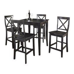 Crosley Furniture - 5 Pc Pub Dining Set w Cabriole Leg and X-Back - Includes Pub Table and 4 Stools in Black. Solid Hardwood & Veneer Construction Table . Solid Hardwood Stools. Hand Rubbed, Multi-Step Finish. Solid Hardwood, Carved Cabriole Style Legs. Shaped Back for Comfort. Table Dimensions: 36 in. H x 32 in. W x 32 in. D. Stool Dimensions: 40 in. H x 18.5 in. W x 22.5 in. DConstucted of solid hardwood and wood veneers, the 5 piece Pub / High Dining set is built to last. Whether you are looking for dining for four, or just a great addition to the basement or bar area, this set is sure to add a touch of style to any area of your home.