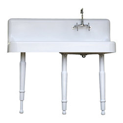 American Standard - Consigned 1923 Refinished Legged Cast Iron High Back Farmhouse Sink Lg Apron, - Refinished Legged Cast Iron 1923 High Back Farmhouse Sink Lg Apron, Backsplash & Drainboard  Bright White with New Faucet & Drain