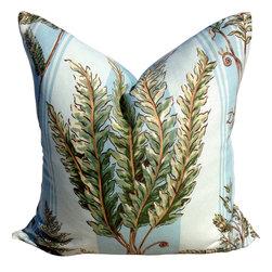 PillowFever - Fern Linen Pillow in Blue Stripes. - Pillow insert is not included!