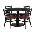 Flash Furniture - Flash Furniture Restaurant Furniture Table and Chairs X-GG-5001BRSR - 36'' Round Black Laminate Table Set with 4 Ladder Back Metal Chairs - Burgundy Vinyl Seat [RSRB1005-GG]