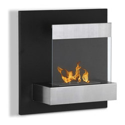 Wall Mount Ethanol Fireplace - Melina - The small size of the Melina ethanol fireplace makes it perfect for any space. Its vertical design and black powder coated back panel serves as the perfect backdrop for your flame centerpiece. A stainless steel shelf houses the ethanol burner as well as holds the protective glass shield. One of the best options for ventless wallmount fireplaces.