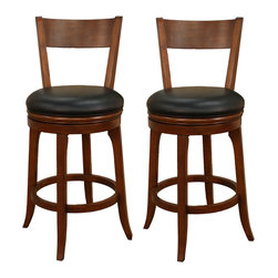 American Heritage - American Heritage Autumn Bar Stool in Suede with Black Vinyl (Set of 2) - The simple design and built in comfort makes the Autumn stool a very popular choice. The integrated seat back and 360 degree full bearing swivel seat is a bonus at this price.