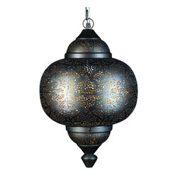 Artemano - Oriental Pierced Metal Pendant Light - Illuminate a room in your home with the soft, warm glow of the Oriental Pierced Metal Pendant Light.  Carefully handcrafted out of iron metal, this gold and black hanging lamp will add the perfect dose of texture and dimension to any space.  Suitable in both elegant and casual settings, this modern chandelier adds an ambient lighting that beautifully showcases the rest of your home décor. Black on the outside with a gold interior.