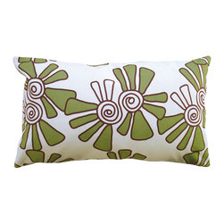 Balanced Design - Hand Printed Canvas Pillow - Alex, Moss, 12 x 20 - Bright colors, a fun pattern and handmade style give this pillow panache. Swirling blooms hand-printed on weighty white canvas or a linen-cotton blend come in your choice of sizes. Each features a zipper closure and an ecofriendly insert made from recycled plastic and feathers that can be removed for easy cleaning.