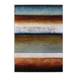 Uttermost - Prism Views Modern Art - Graceful stripes of rich color impart a peaceful vibe to your living room or dining area. This beautiful hand-painted piece hangs unframed for fresh-off-the-easel appeal.