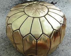 Moroccan Leather Pouf Ottoman, Gold by Fez Art - I can't resist a good metallic pouf, especially when it's gold!