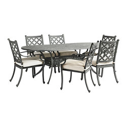 "Ballard Designs - Maison 7-Piece Oval Dining Set - Includes 84"" Dining Table, 2 Dining Armchairs & 4 Dining Side Chairs. Basic off-white box cushions included. Coordinates with Maison Dining Collection & Maison Lounge Collection. Assembly required on table only. Replacement cushions available. Requires 1 cushion per chair>. The graceful geometric pattern of our timeless 7-Piece Maison Dining Set was inspired by Mediterranean tile work. Hand applied zinc finish frames are crafted of fully welded cast aluminum, making them exceptionally strong and resistant to chipping and rust.Maison Zinc 7-Piece Dining Set features:. . . . Replacement cushions available. Requires 1 cushion per chair. >Use of an outdoor furniture cover is recommended to extend the life of your piece."