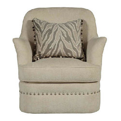 A.R.T. - A.R.T. Cotswold Amanda Toffee Upholstered Swivel Chair - The Cotswold Collection exemplifies gracious living through the generous scale of its palatial beds and impressive occasional pieces. Rich custom fabrics, top grain hand-rubbed leather, shapely serpentine fronts and elegant motifs convey luxury. Built from a strong hardwood frame and featuring rustic pine legs, these dining chairs are built to last for years to come.