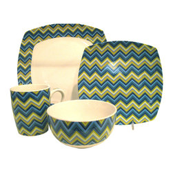 Waverly - Waverly Blue Zig-zag 16-piece Dinnerware Set - Add a stylish touch to your table with this 16-piece dinnerware set from Waverly. A zig-zag design highlights this set of dinner plates, salad plates, bowls and mugs.
