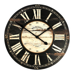 Wooden Clock - Its wonderfully aged exterior only makes this timepiece more of an eye-catching standout on your wall. With a reference to a Parisian hotel in the 19th century, it almost tells a story, as it tells the time.