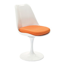 Tulip Chair in Orange - Inspired by a 1956 design, this chair is a modern kitchen's dream. Perfect for a kitchen nook with a small table, pull up two of these for breakfast and coffee in true modern kitchen style.